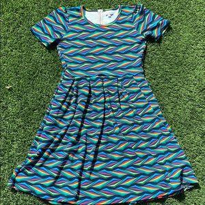 Rainbow Colored LulaRoe Amelia Dress